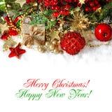 Kerstmisdecoratie in rood en gouden De achtergrond van de vakantie Stock Afbeelding