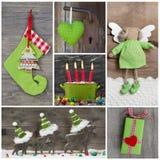 Kerstmisdecoratie in rood en groen op houten achtergrond Stock Foto