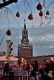 Kerstmisdecoratie in Rood Vierkant op Nieuwjaar ` s, Moskou, Rusland Royalty-vrije Stock Fotografie