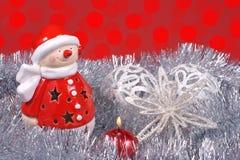 Kerstmisdecoratie, Santa Claus en kleurrijke gloed van licht stock afbeelding