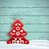 Kerstmisdecoratie in Skandinavische stijl, rode rijke verfraaide boom voor blauwe houten muur, illustratie Stock Fotografie