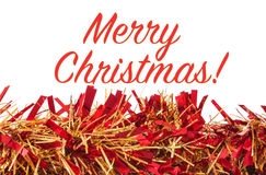 Kerstmisdecoratie, slinger op witte achtergrond met Vrolijke Chr Royalty-vrije Stock Foto's