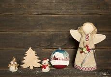 Kerstmisdecoratie: sneeuwman, Kerstmisboom, stuk speelgoed, engel Royalty-vrije Stock Foto's