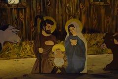 Kerstmisdecoratie van de geboorte van Christusscène met Dieren Stock Foto's