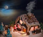 Kerstmisdecoratie van het peperkoekhuis voor de vakantie Stock Afbeelding