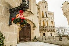 Kerstmisdecoratie van Hluboka-Kasteel, Zuid- Boheems Gebied, Tsjechische Republiek royalty-vrije stock fotografie