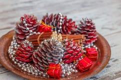 Kerstmisdecoratie van kegels Stock Foto