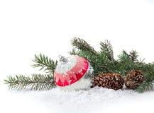 Kerstmisdecoratie van Kerstbomen en kegels Royalty-vrije Stock Afbeelding