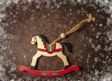Kerstmisdecoratie - wit paard Nieuw jaarsymbool 2015 Stock Fotografie