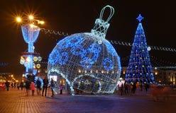 Kerstmisdecoratie Witrussisch Minsk 2016-2017 Stock Foto's