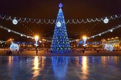 Kerstmisdecoratie Witrussisch Minsk 2016-2017 Stock Fotografie