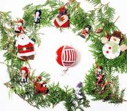 Kerstmisdecoratie, witte achtergrond voor de wijnoogst van de prentbriefkaargift Stock Fotografie