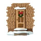 Kerstmisdeur met kroon wordt verfraaid die stock illustratie