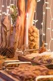 Kerstmisdiner in de in aanbouw Bouw stock fotografie