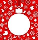 Kerstmisdocument hangende bal als prentbriefkaar Royalty-vrije Stock Afbeelding