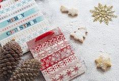 Kerstmisdocument zakken en koekjes Royalty-vrije Stock Afbeelding