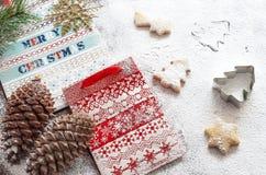 Kerstmisdocument zakken en koekjes Royalty-vrije Stock Fotografie