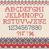 Kerstmisdoopvont: Het Skandinavische klopje van het stijl naadloze gebreide ornament Stock Afbeelding