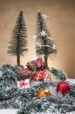 Kerstmisdozen, speelgoed en giften Stock Foto