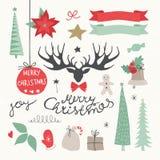 Kerstmiselementen en Symbolen Stock Afbeeldingen