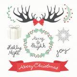 Kerstmiselementen en Symbolen Vectorenillustratie Stock Fotografie