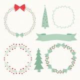 Kerstmiselementen, Kroon, Bomen en Linten Stock Afbeeldingen