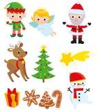 Kerstmiselementen met inbegrip van Santa Claus stock illustratie