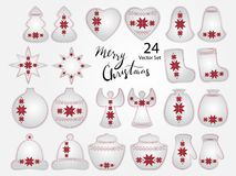 Kerstmiselementen met Oekraïens Borduurwerk vector illustratie