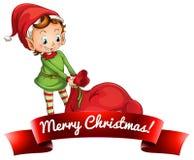 Kerstmisembleem met elf royalty-vrije illustratie