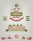 Kerstmisembleem van groene en rode tinten Stock Afbeeldingen