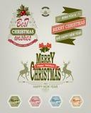 Kerstmisembleem van verschillende schaduwen, reeks Stock Foto