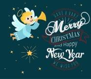 Kerstmisengel met halovleugels en trompet royalty-vrije illustratie