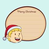 Kerstmisetiket met een Jongensgezicht royalty-vrije illustratie