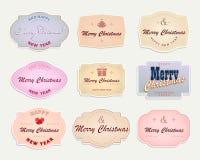 Kerstmisetiket met lichte kleuren, reeks Stock Foto's