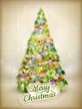 Kerstmisetiket op een gebreide achtergrond Eps 10 Stock Foto's