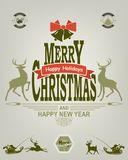 Kerstmisetiket van groene en rode pastelkleuren Royalty-vrije Stock Fotografie