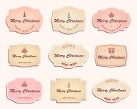 Kerstmisetiket van lichte, gevoelige schaduwen, reeks Royalty-vrije Stock Afbeeldingen
