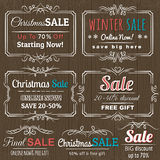 Kerstmisetiketten met verkoopaanbieding Royalty-vrije Stock Foto's