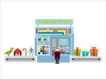Kerstmisfabriek Automatische lijn voor productie van giften Kerel C Stock Foto's