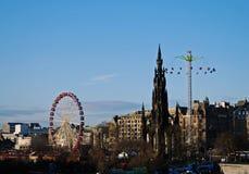 Kerstmisfestival in de stadscentrum van Edinburgh Stock Afbeelding