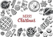 Kerstmisgebakjes en kader van de banketbakkerij het hoogste mening Hand getrokken vector grafische illustratie Wintertijdvoedsel  Royalty-vrije Stock Foto's