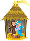 Kerstmisgeboorte van christus Jesus Birth Hut Isolated Stock Foto's
