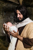 Kerstmisgeboorte van christus Joseph en Jesus Stock Foto's