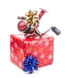 Kerstmisgift in doos voor vissers royalty-vrije stock fotografie