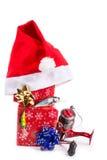 Kerstmisgift in doos voor vissers stock foto