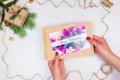 Kerstmisgift en groetkaart Royalty-vrije Stock Afbeelding