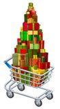 Kerstmisgift het winkelen concept Stock Afbeelding
