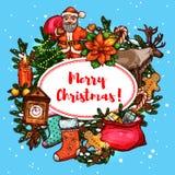 Kerstmisgiften en Santa New Year-afficheontwerp Stock Fotografie