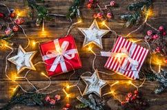Kerstmisgiften en sterren Royalty-vrije Stock Afbeelding