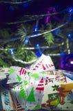 Kerstmisgiften en woorden Vrolijke Kerstmis Royalty-vrije Stock Foto